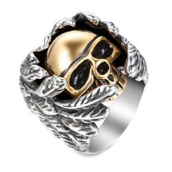 BA0151 BOBIJOO Jewelry Signet Ring Biker Man, Half Angel Half Demon