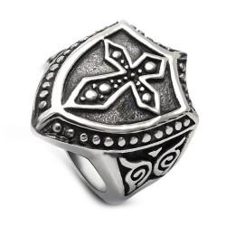 BA0156 BOBIJOO Jewelry Signet Ring Shield Templar Latin Cross Stainless Steel