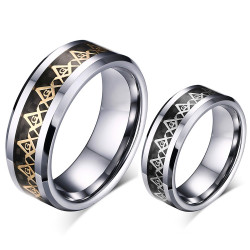 BA0168 BOBIJOO Jewelry Bague Anneau Alliance Franc-Maçon Tungstène Carbone