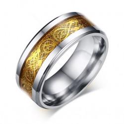 BA0175 BOBIJOO Jewelry Ring Alliance Ring Steel Silver Golden Dragon Bright