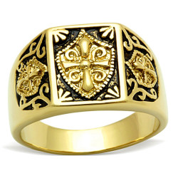 BA0184 BOBIJOO Jewelry Ring Signet Steel Gilded Gold Finish Templar Cross Ecu