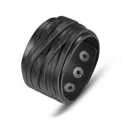 BR0194 BOBIJOO Jewelry Cuff Bracelet men Women Black Leather 4cm