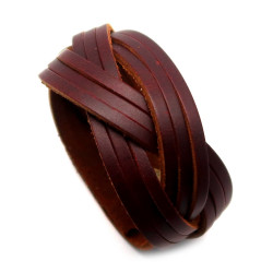 BR0197 BOBIJOO Jewelry Bracelet Unisex Brown Leather Braided Strips 3.4 cm