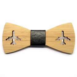 NP0012 BOBIJOO Jewelry Noeud Papillon Bois Bambou Avion Aviation