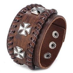 BR0212 BOBIJOO Jewelry Bracelet Manchette Homme Cuir Marron Templier Croix Pattée