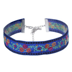 COF0020B BOBIJOO Jewelry Round Neck collar Fabric Flower Blue Bohemian