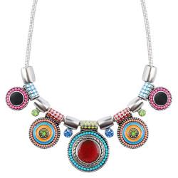 Collier Femme Multicolore Emaillé Ethnique Bohème bobijoo