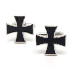 Boutons de Manchette Vintage Croix Noires Templier bobijoo