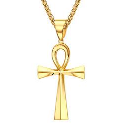 PE0071 BOBIJOO Jewelry Pendant Cross of Life Egyptian Gilded Gold finish 64mm
