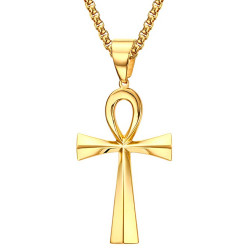 Pendentif Croix de Vie Egyptienne Doré Or Fin 64mm bobijoo
