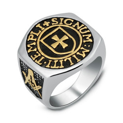 BA0068 BOBIJOO Jewelry Bague Chevalière Croix des Templiers Franc Maçon Templi Signum Militi