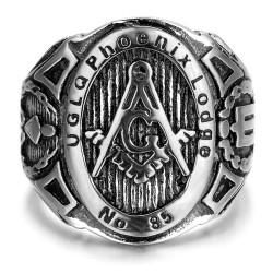BA0187 BOBIJOO Jewelry Signet Ring Freemasonry UGLQ PHOENIX LOGDE 85