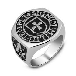 BA0188 BOBIJOO Jewelry Ring Signet Ring Cross Templar Frank Mason Templi Signum Militi