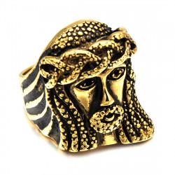 BA0190 BOBIJOO Jewelry Breit Ring Siegelring Edelstahl Vergoldet Jesus