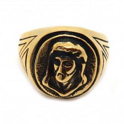BA0194 BOBIJOO Jewelry Bague Ronde Homme Acier Doré Or Fin Noir Tête Jesus Christ