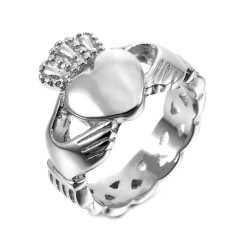 BAF0033 BOBIJOO Jewelry Women's claddagh ring Stainless steel and Silver