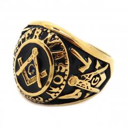 BA0019 BOBIJOO Jewelry Signet Ring Freemasonry Master Black Blue Steel