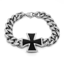 BR0237 BOBIJOO Jewelry Bracciale Grumetta Uomo Nero Templare Argento, Acciaio