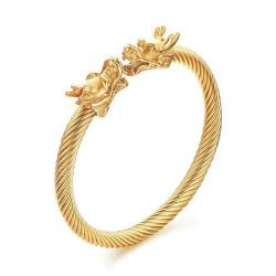 BR0229 BOBIJOO Jewelry Bangle Bracelet Cable Male Dragon Steel Gilded Gold Finish