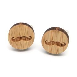 BM0033 BOBIJOO Jewelry Boutons de Manchette Bois Moustache