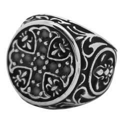 BA0075 BOBIJOO Jewelry Ring Signet Templar Cross pattée Lys Rhinestone