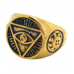 BA0081 BOBIJOO Jewelry Ring Signet Ring Illuminati Pyramid Eye Golden