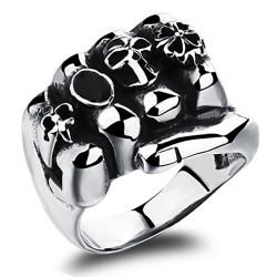 BA0217 BOBIJOO Jewelry Ring Signet Ring Biker Steel Fist Clover Lys Skull Steel