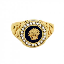 BA0013 BOBIJOO Jewelry Chevalière Bague Doré à l'Or Fin Style Medusa Cristal Ring Gold Black Noir Mixte