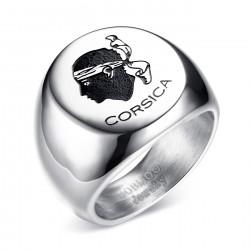 BA0225 BOBIJOO Jewelry Ring Signet Corsican Moor's Head in Corsica Steel, Silver