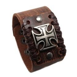 BR0213 BOBIJOO Jewelry Bracelet Homme Cuir Marron Chevalier Croix Templière
