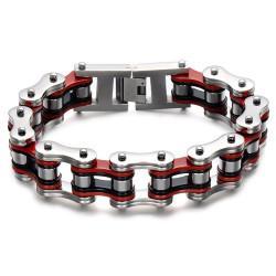Large Bracelet Chaîne de Moto Homme Acier Rouge Noir bobijoo