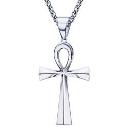 PE0085 BOBIJOO Jewelry Pendant Cross of Life Egyptian Steel, Silver 64mm