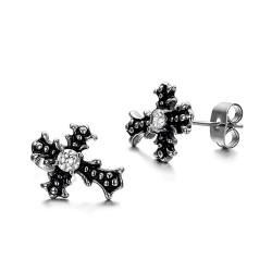 BOF0088 BOBIJOO JEWELRY Earrings Cross Steel Zirconium Gothic Dark