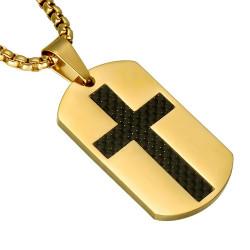 PE0092 BOBIJOO Jewelry Medaillon Edelstahl Gold Kreuz kohlenstoff Kette Anhänger
