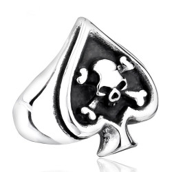 BA0165 BOBIJOO Jewelry Signet Ring Poker Ace of Spades skull Biker