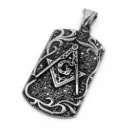 PE0084 BOBIJOO Jewelry Medallion Freemasonry Rhinestone Black Steel