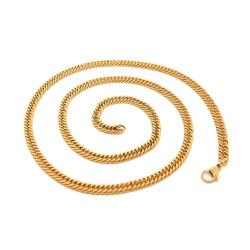 PE0116 BOBIJOO Jewelry Chaîne Maille Gourmette 60cm 4mm Acier Inoxydable Or
