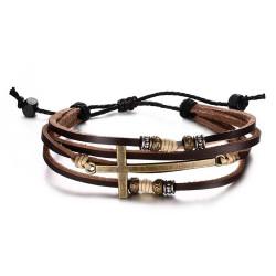 Bracelet Mixte Cuir Marron Charms Croix Latine bobijoo